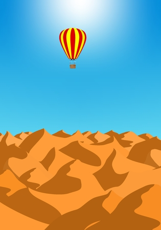 Summer holiday desert landscape with brown sand dunes with red hot air baiioon in the blue sky. Air transport at sunset