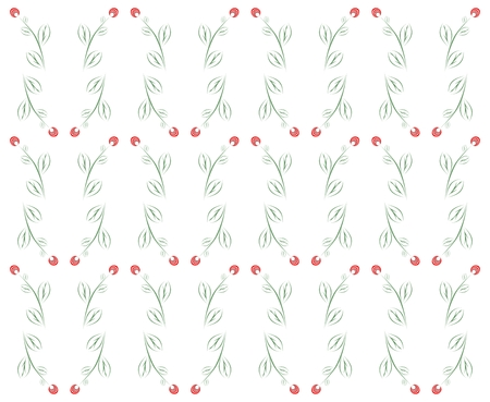other side: Spring background with red flowers with green leaves and stems in a row side by side and one below the other on a white background Illustration