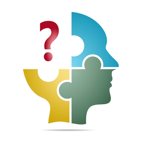 The colored human head composed of blue, yellow and green puzzle pieces with red question mark with gray shadow below the head on a white background. Human head composed of geometric elements