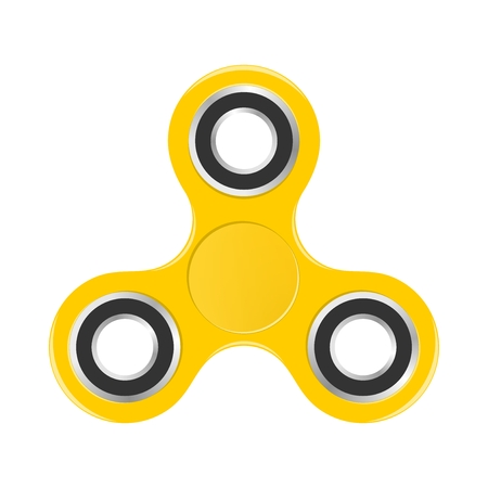 Yellow colorful fidget spinner with silver bearings on a white background. Modern childrens hand spinning toy