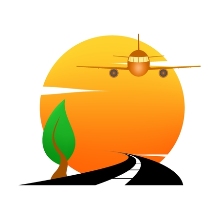 Summer landscape icon with orange sunset, with green deciduous tree on hill on and airport airliner and black road. Illustration