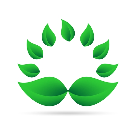 Eco icon from green leaves in a circle on a white background with gray shadow on the bottom. Abstract design natural round shape