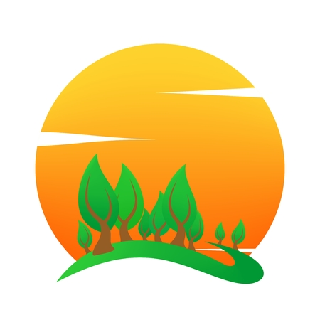 Summer landscape icon with orange sunset, with green deciduous tree on hill on and white clouds . Holiday greeting for a romantic trip. A sign for environmental Illustration