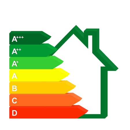 3D Color Icon Energy class home next to a green house. Graph saving and energy consumption households