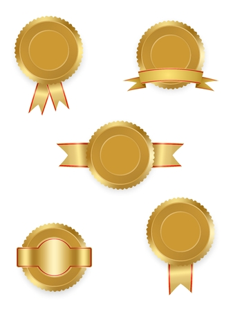 quality guarantee: Set of vector labels gold with ribbons with red and gold ribbon with white on white background. Collection of world winning award medals . Gold medal signet