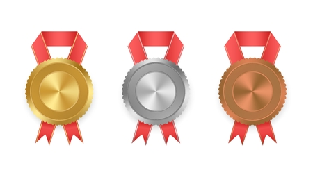 third world: Set of vector labels gold, silver and bronze with ribbons with red and gold ribbon with white on white background. Collection of world winning award medals . Gold medal, bronze medal, silver medal