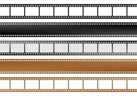 Satz von Film und Kamera leere Filmstreifen von verschiedenen Farben mit leeren Fenstern und ohne Fenster Vektorgrafik