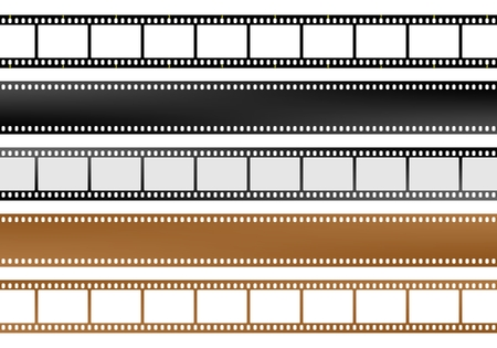 Set of movie and camera blank film strips of different colors with empty windows and without windows Vektoros illusztráció