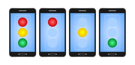 Set of black switched smartphones with blue display with red, yellow and green light on traffic light on white background. The traffic lights on the mobile phone stand, watch out for free