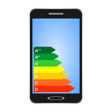 Black switched smartphones with blue display with energy class label from efficiency A to D from green to red on a white background. 3D Color mark rating for electrical appliances and energy saving
