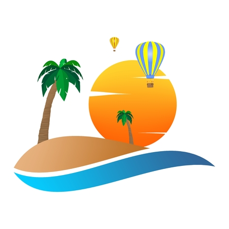 Summer landscape icon with orange sunset, with palm tree on sand hill on with colorful hot air balloons flying and white clouds .Holiday greeting for romantic trip with water.A sign for environmental