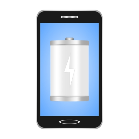 Black switched smartphones with blue display with a white flashlight with a white flash showing the phones charge on a white background Ilustração