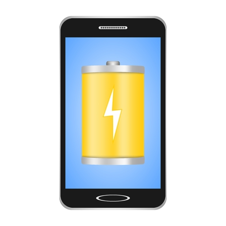 Black switched smartphones with blue display with a yellow flashlight with a white flash showing the phones charge on a white background.