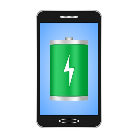 Black switched smartphones with blue display with a green flashlight with a white flash showing the phones charge on a white background Ilustração