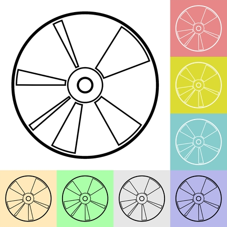 Simple black compact disc icon in color squares. DVD disc contour set