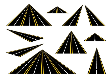 Set straight roads and highways with yellow lines on the roadside and a broken white center line on a white background. Black road with one, two, three and four lanes