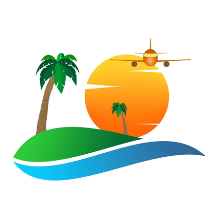 Summer landscape icon with orange sunset, palm tree on hill and plane flying on white clouds .