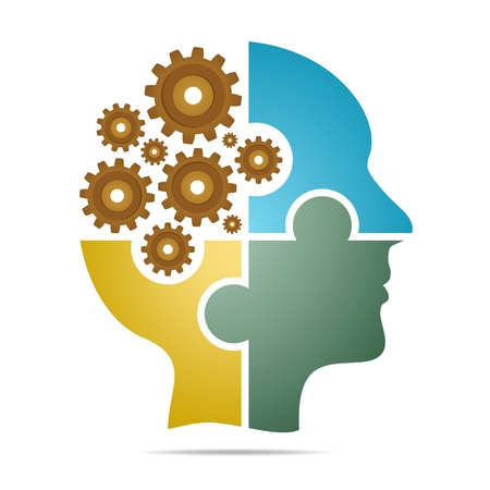 The human head composed of colored puzzle pieces with brown toothed wheels with gray shadow below the head on a white background. Human head composed of geometric elements Illustration