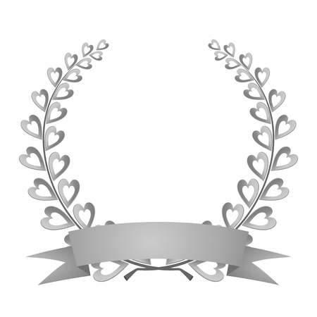 Silver laurel wreath silver composed of two branches with colorful hearts and stems with a silver ribbon for the first place for winner on a white background Illustration
