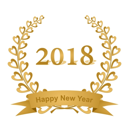 New year greeting card with gold laurel wreath composed of two branches with colorful hearts and stems with a gold ribbon for the 2018 year on a white background.