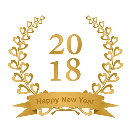 New year greeting card with gold laurel wreath composed of two branches with colorful hearts and stems with a gold ribbon for the 2018 year on a white background