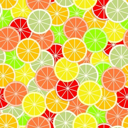 Colorful slices of citrus fruits pattern. Illustration