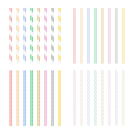 Set of colored beverage straws with geometric shapes on a white illustration.