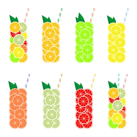 Set of glasses of fresh citrus slices of orange, lemon, lime, grapefruit, pomelos and tangerines with colored straws and green leaves. Citrus summer juice, cocktail and drink Stock Vector - 92127133
