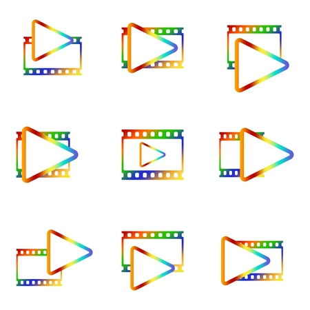 Colorful icon set for video player with blank movie and photo window with color triangle inside on white background. Vectores