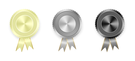 Set of vector labels white, gray and black with colored ribbons with gold ribbon on white background. Collection of world medals for winning products. white medal, gray medal, black medal Stock Illustratie