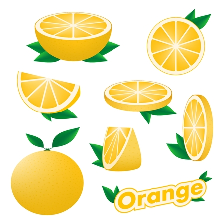 Set of fresh citrus sliced and whole orange with skin with green leaves on a white background. The concept of healthy eating.