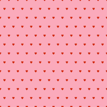 Valentines pink background with red hearts in a row and alternately under each other on a pink background. Backdrop for lovers and Mother's Day