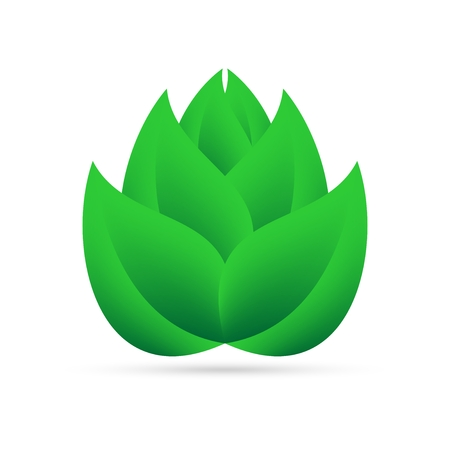 Eco icon from green leaves above myself on a white background with gray shadow on the bottom. Abstract design natural plant