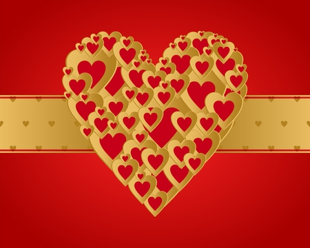 Red valentine greeting with a heart composed of small gold hearts with gold ribbon middle on a red background