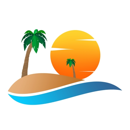 Summer landscape icon with orange sunset, with palm tree on sand hill on and white clouds .Holiday greeting for romantic trip with water.A sign for environmental