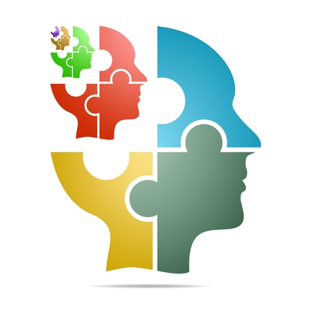 The human head composed of colored puzzle pieces with color head with gray shadow below the head on a white background. Human head composed of geometric elements