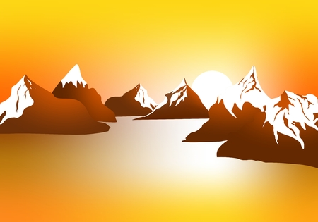 Morning landscape with mountains and orange sky at sunrise with sun reflecting on the surface of the lake.