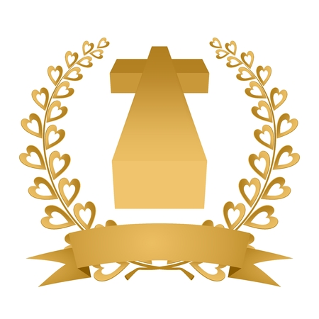 Gold laurel wreath gold composed of two branches with colorful hearts and stems with a gold ribbon with golden cross on a white background