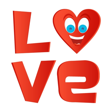 Red inscription love with red heart with face with blue eyes and a big joyful laughing with open mouth and tongue on a white background