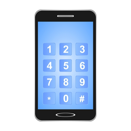Black switched smartphones with blue display with a touch screen with blue buttons and white password numbers on a white background. Ilustração