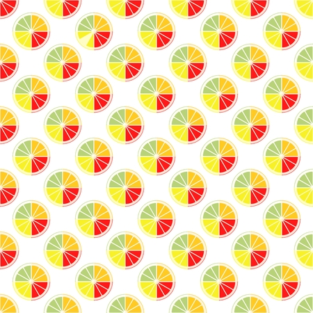 Color backdrop icon composed of a cut of four citrus fruits orange, lemon, grapefruit and pomelo in row next to each other and alternately under him on a white background. The concept of healthy fruit