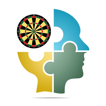 The human head composed of colored puzzle pieces with color target with gray shadow below the head on a white background. Human head composed of geometric elements