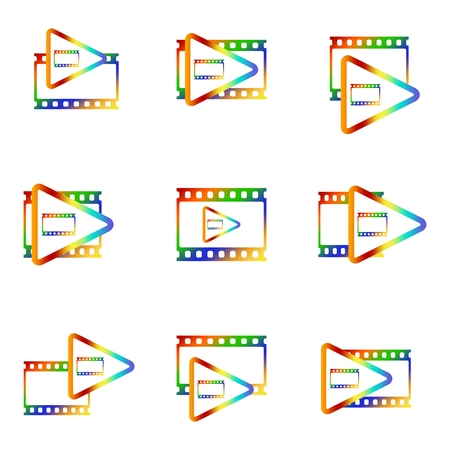 Colorful icon set for video player with blank movie and photo window with color triangle inside on white background Illustration