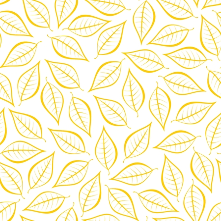 Autumn yellow natural background from contours of brown leaves. Seamless decorative eco backdrop. Environmental pattern with floral leaves