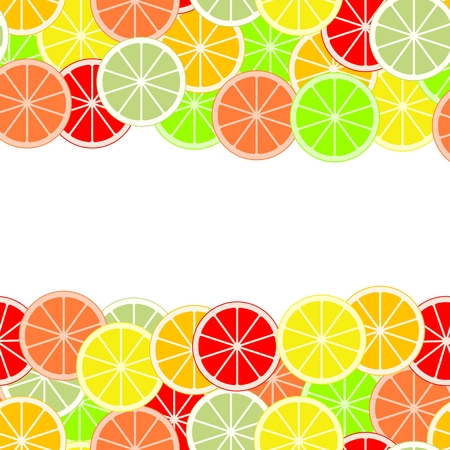 Colorful background of slices and slices of citrus fruits of orange, lime, grapefruit, tangerine, lemon and pomelo. Backdrop from mixed fresh fruit in a row up and down.