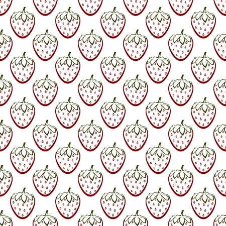 Background with contour ripe red strawberry with green stem with green end and green leaf in row next to each other and alternately under him on white background. Ripe autumn natural home made fruit Ilustração