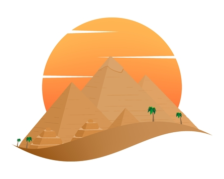 The icon with the Egyptian Pyramids of Giza in the Sand with orange sun in the background of palm trees with brown trunk with green leaves on a white background