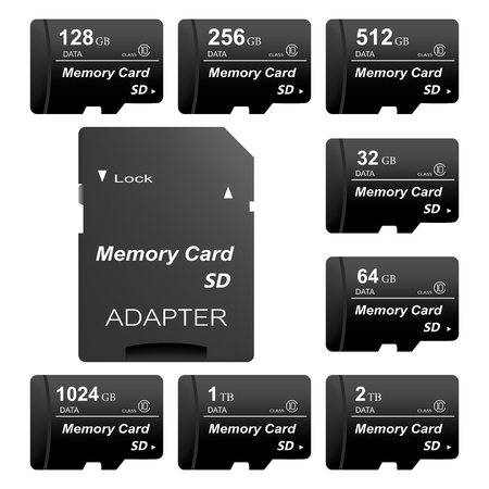 Set of black standard digital sd memory cards front and back with gold contact with adapter for sd card on a white background. Collection media card for digital data Illustration