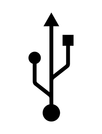 Black symbol for usb logo on white background. Isolated sign for usb output.