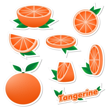 Set stickers of fresh citrus sliced and whole tangerine fruit with skin with green leaves on a white background. The concept of healthy eating.